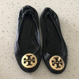 Black and Gold Tory Burch Ballet Flats